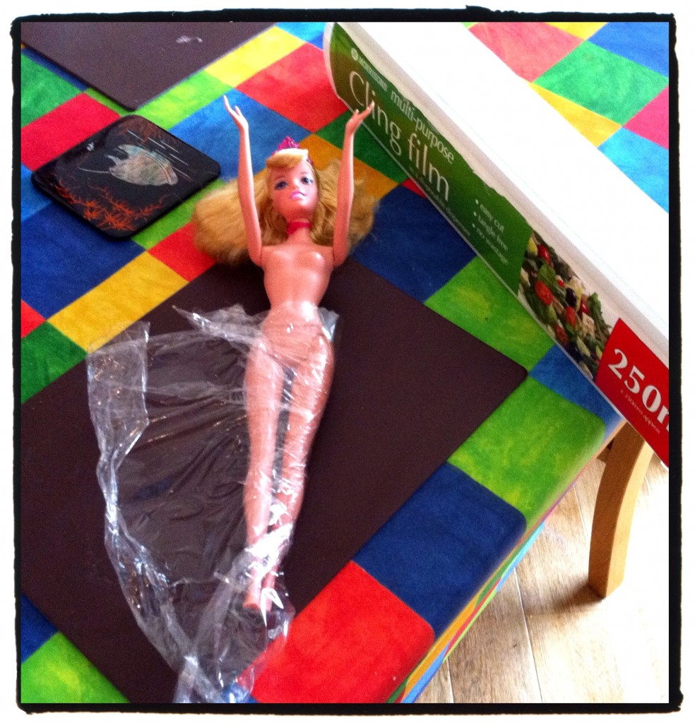 """Here, I'm using Morrisons """"Barbie"""" style princess. One that my daughter had previously said she wanted, so it seemed the ideal centre piece to the princess cake"""
